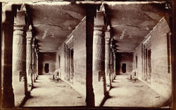 Interior of porch from right end of Buddhist Vihara, Cave I, Ajanta